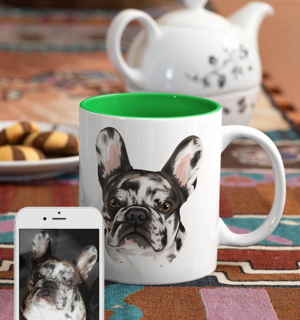 Hund auf Tasse