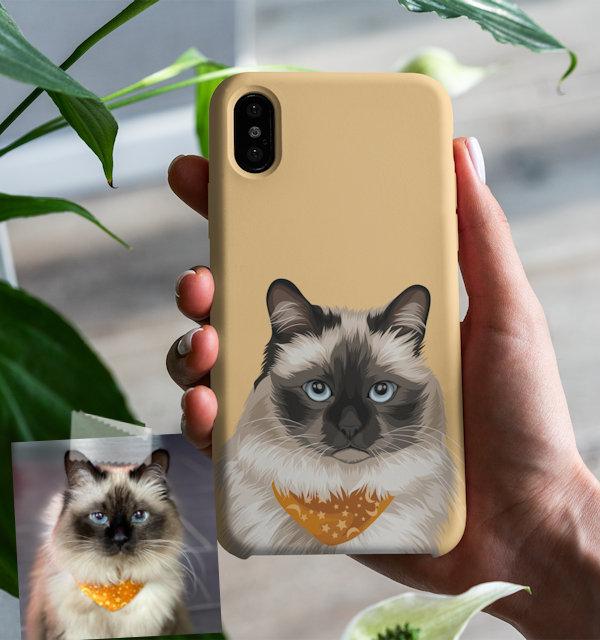 Katze auf Handyhuelle