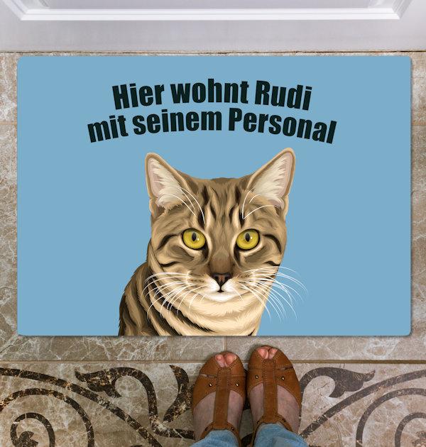 Katze auf Fußmatte