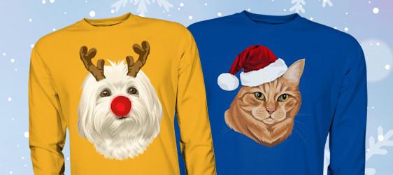 Dein Haustier bedruckt als Rentier oder mit einer hübschen Weihnachtsmütze. Ideal auch als witziges Weihnachtsgeschenk für Haustierliebhaber. Jetzt für nur 49,90€ statt 59,90€. Das Angebot ist erhältlich bis zum 30.11. und nur solange der Vorrat reicht.
